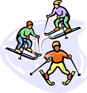 Three people royalty free. Boys clipart skiing