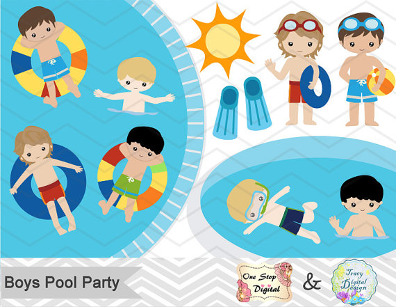 Digital boy pool party. Boys clipart summer