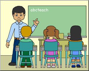 Clip art classroom with. Boys clipart teacher