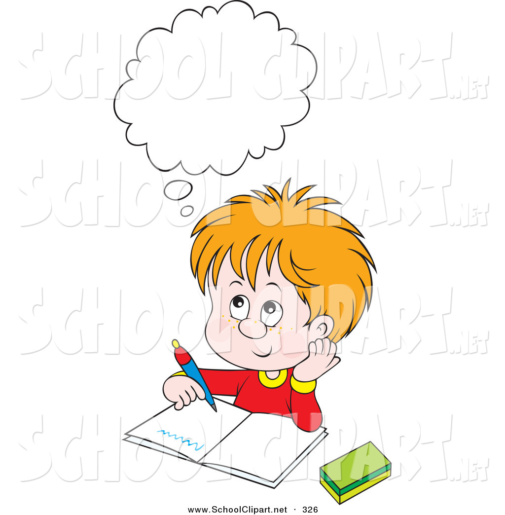 Boys clipart thinking. Royalty free stock school