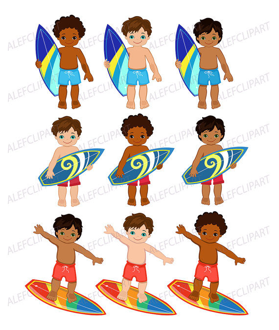 Surfer african american clip. Boys clipart transparent background
