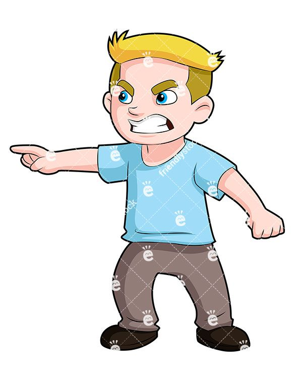 Angry boy pointing finger. Boys clipart upset