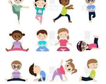Boys clipart yoga. Children sport digital vector