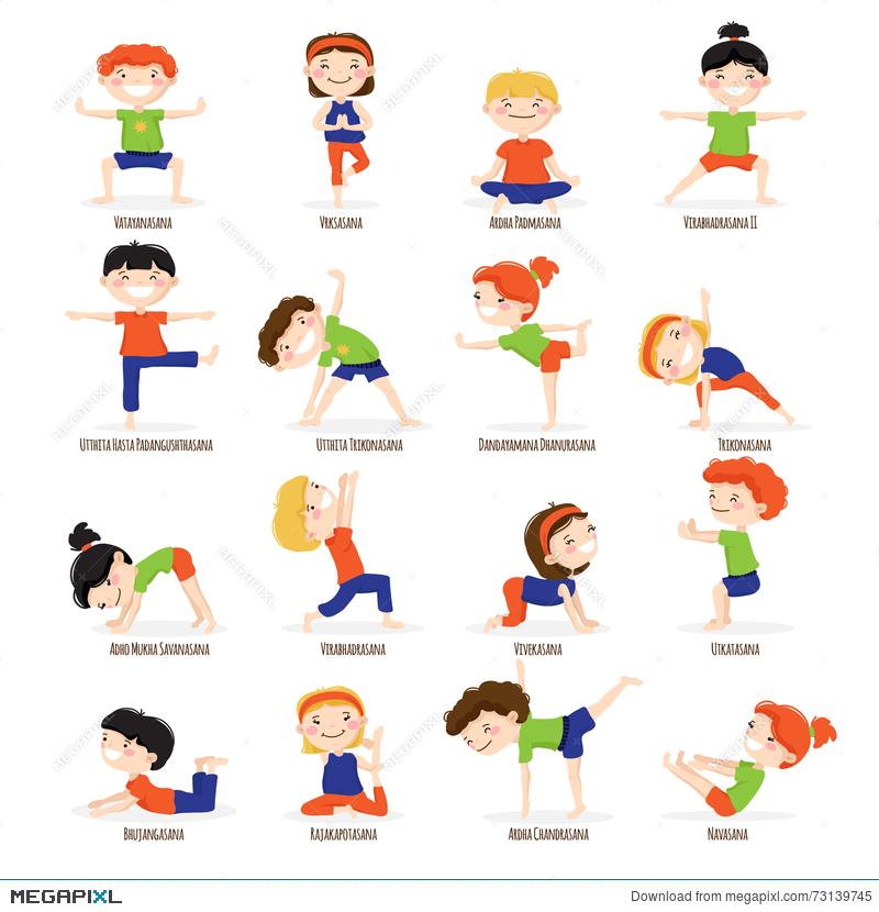Kids children poses cartoon. Boys clipart yoga