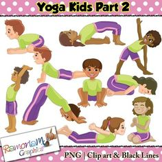 Clip art set contains. Boys clipart yoga