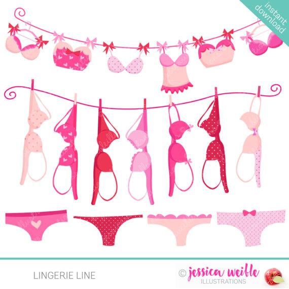 Lingerie line cute digital. Bra clipart clip art