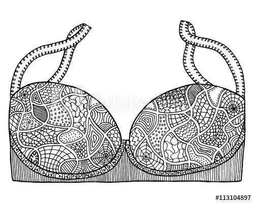 Bra clipart colouring. Brassiere vector zen tangle