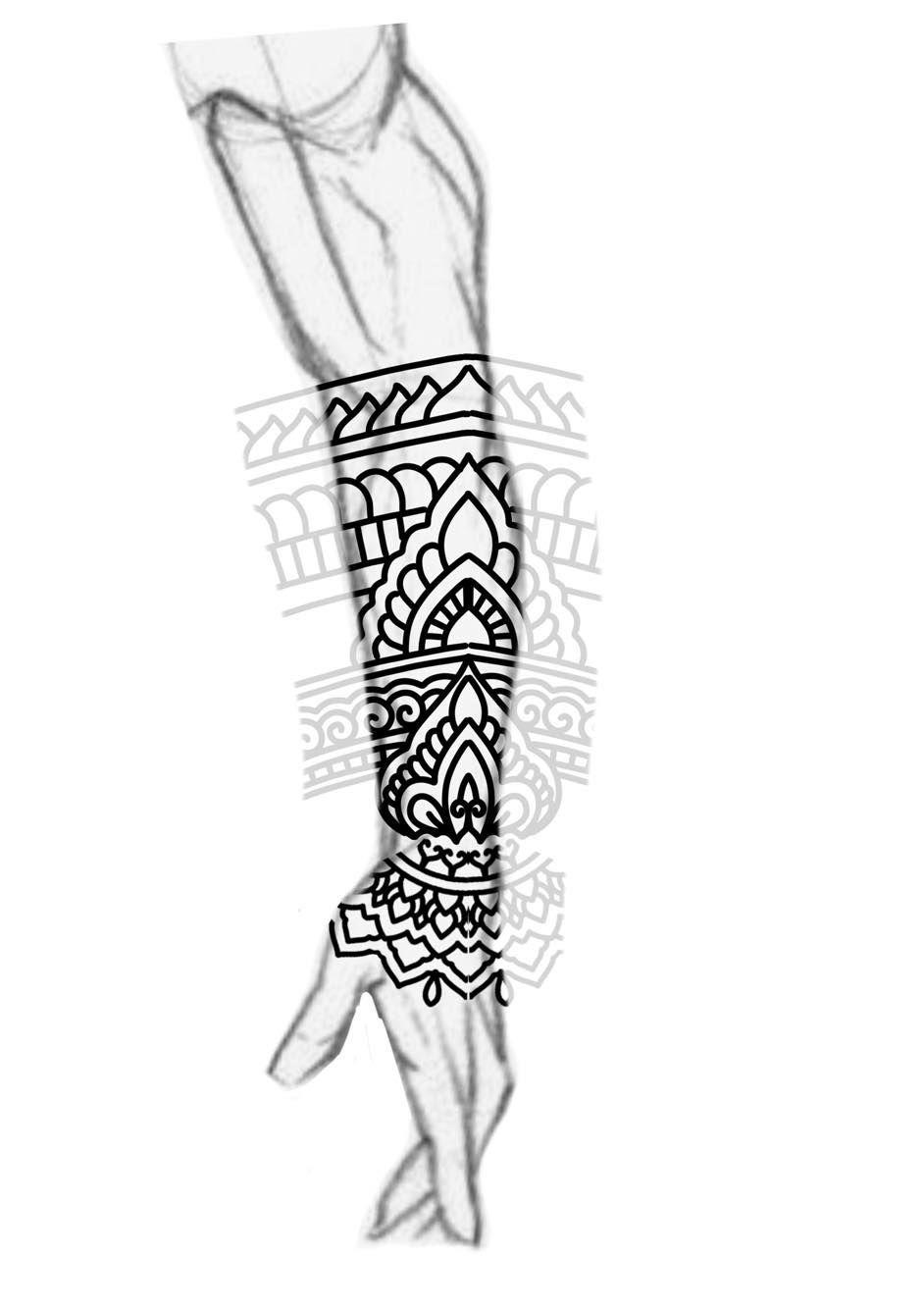 Bra clipart forearm. Blackwork sleeve mandala ornamental