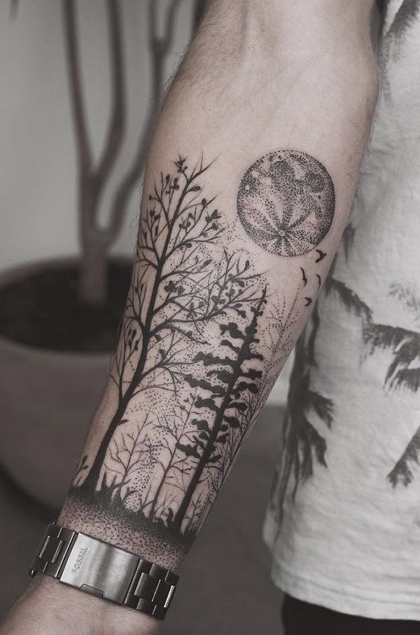 awesome tattoos forest. Bra clipart forearm