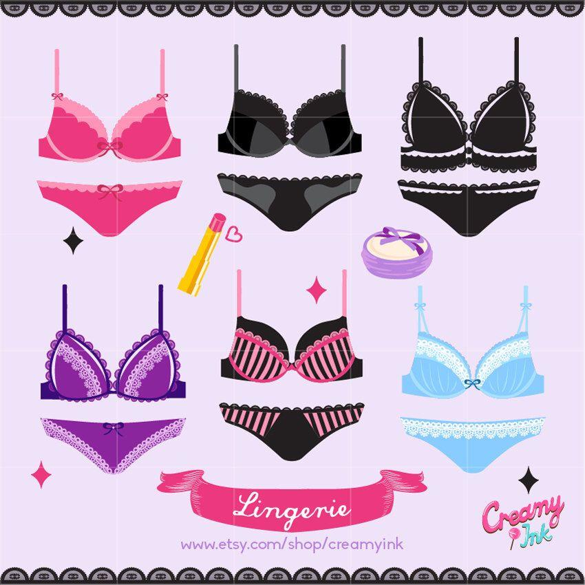Sexy lingerie digital vector. Bra clipart illustration