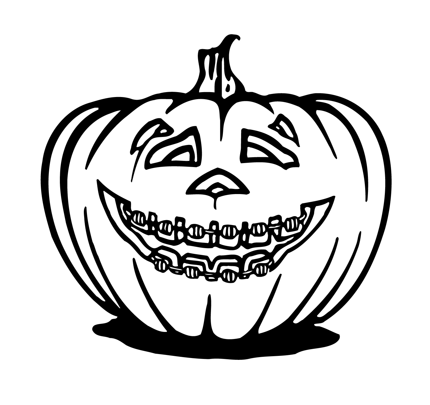 Braces clipart black and white. Challenge coloring pages artwork