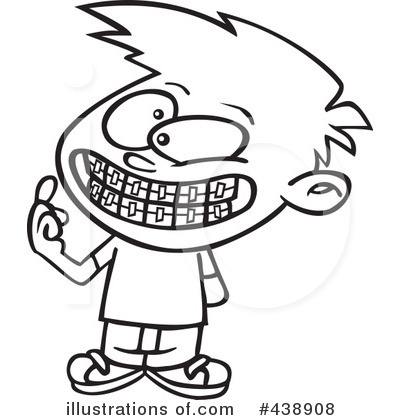 Illustration by toonaday royaltyfree. Braces clipart black and white