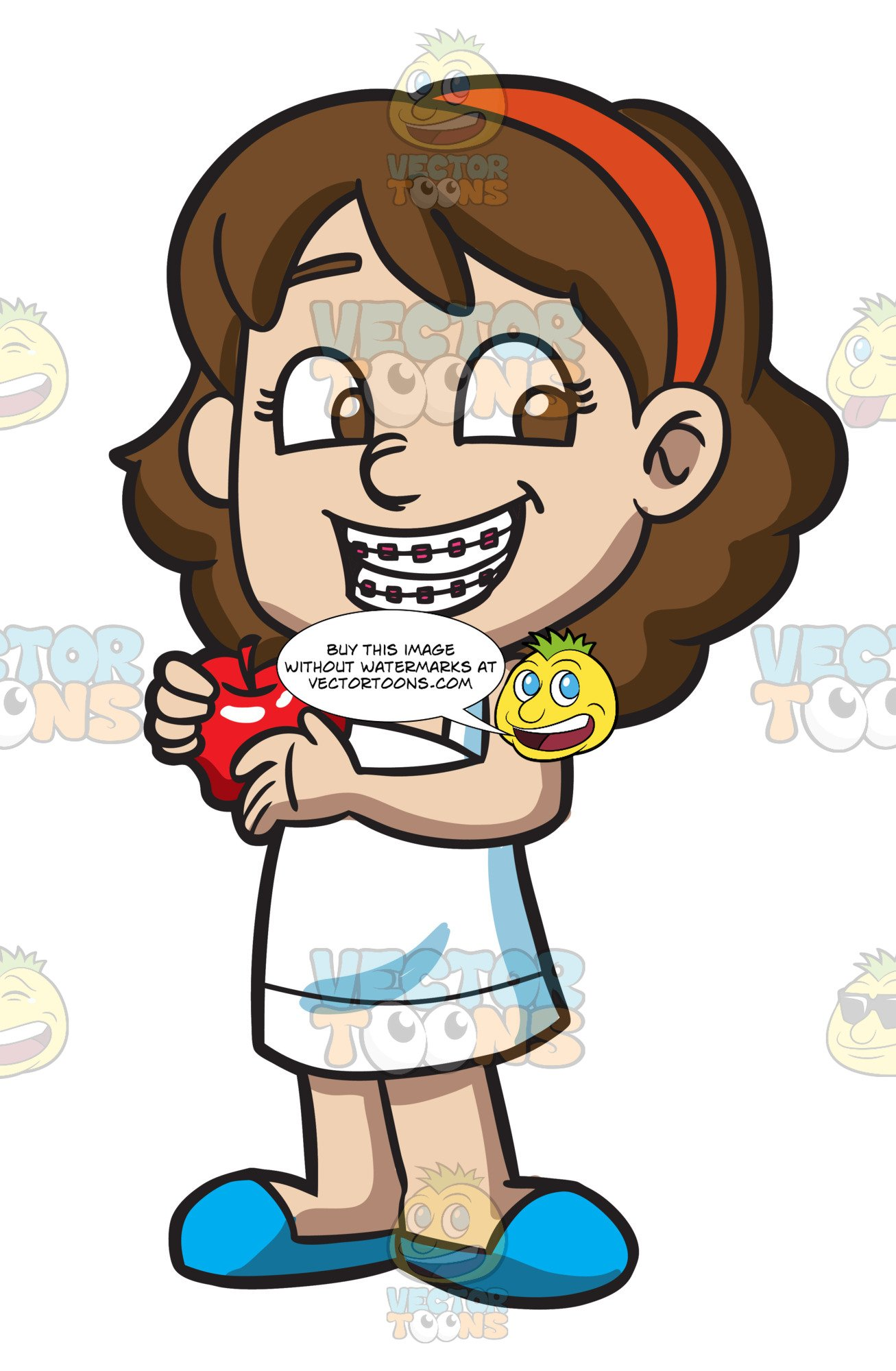 Braces clipart happy girl. A with and an