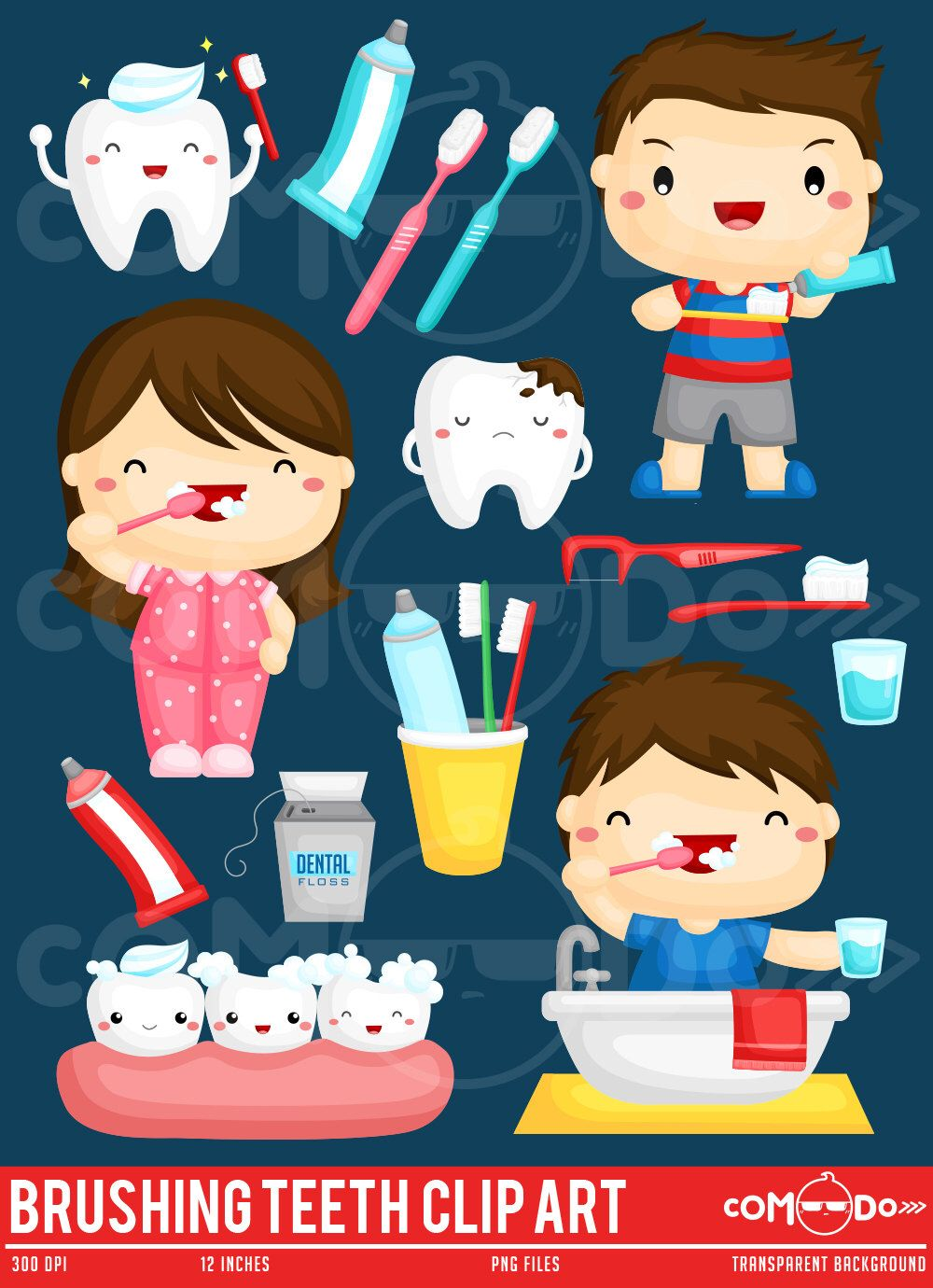 Oral hygiene clip art. Brush clipart cute