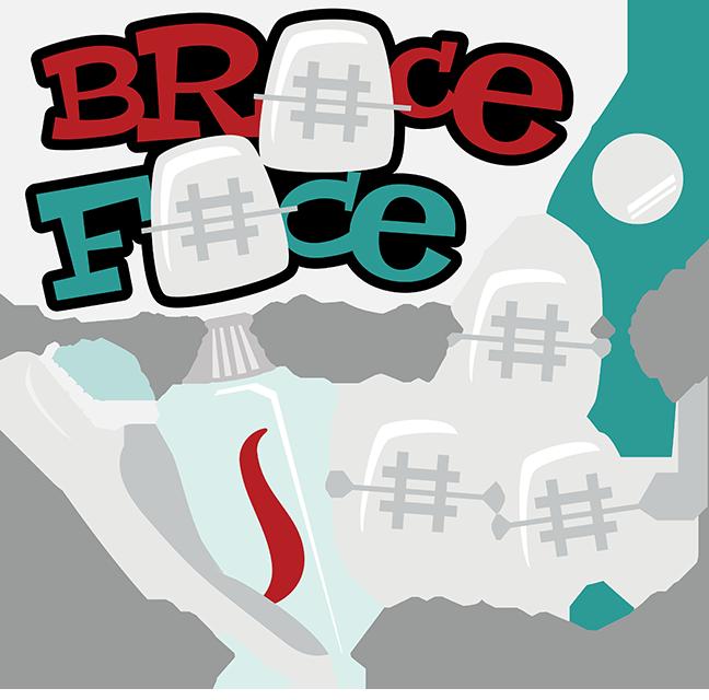 Braces clipart svg. Brace face cute file