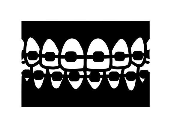 Teeth dentist dental silhouette. Braces clipart svg
