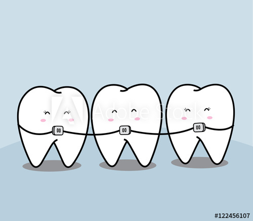 Braces clipart tooth cartoon. Cute and buy this