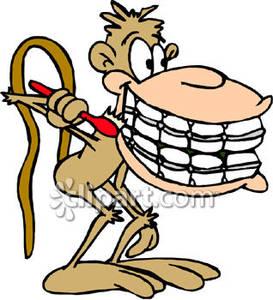 Braces clipart tooth cartoon. Monkey with teeth