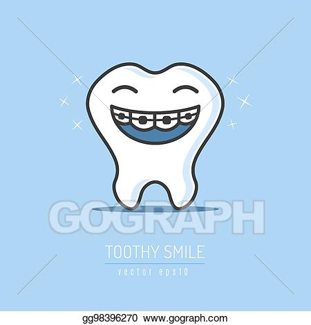 Braces clipart tooth cartoon. Vector dental illustration
