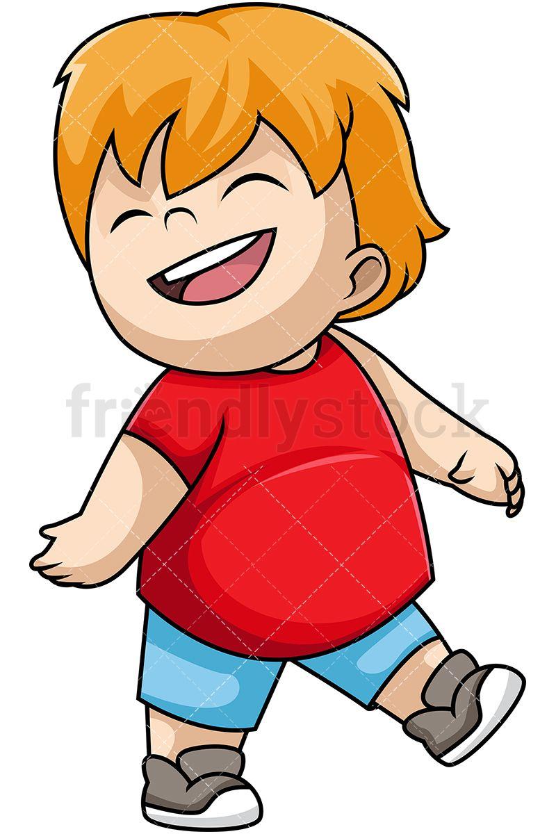 Happy little boy cartoon. Shy clipart kid upset