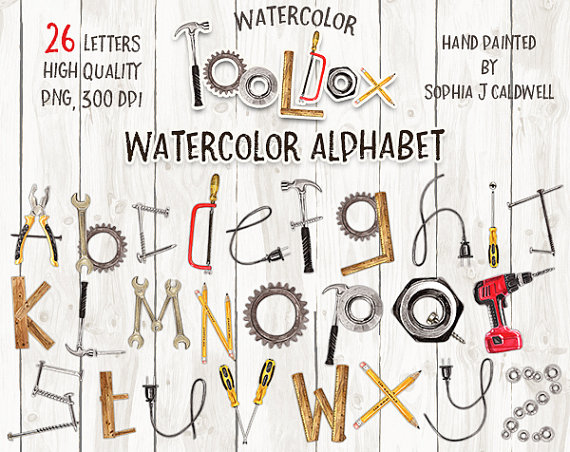 Braces clipart woodworking tool. Alphabet watercolor name letters