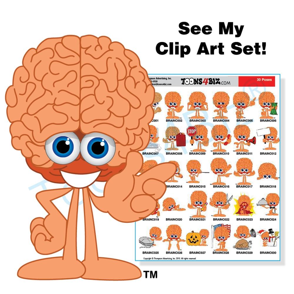 Brain clipart animated. Mascot clip art set