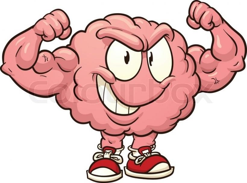 Cute strong vector clip. Brain clipart cartoon