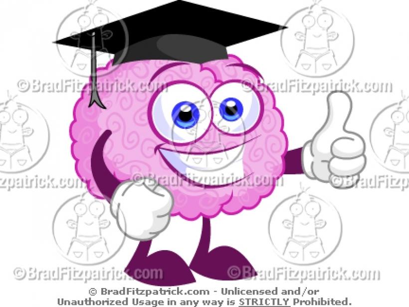 Brain clipart cartoon. Smart wearing a graduation