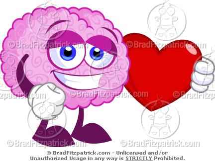 A loving cartoon character. Brain clipart cute