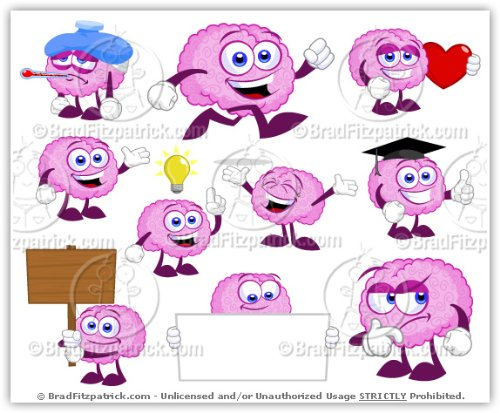 Brain clipart cute. Amazon com cartoon clip