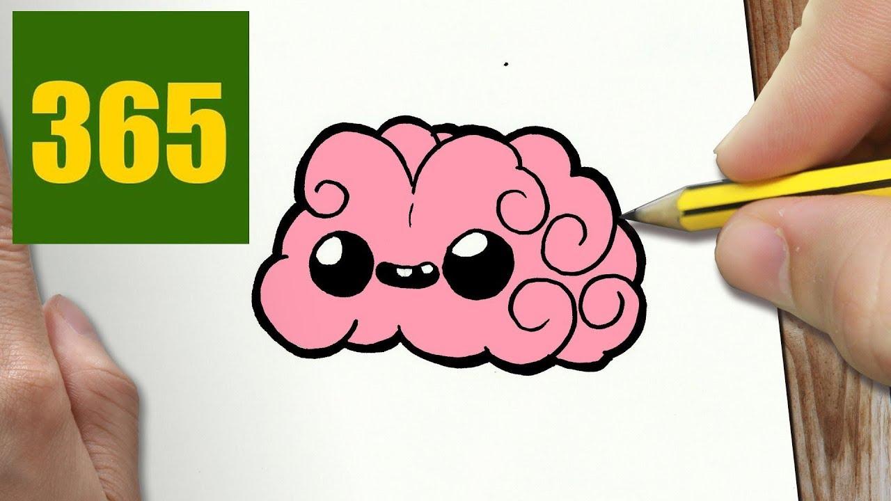 Brain clipart cute. Cartoon drawing of a