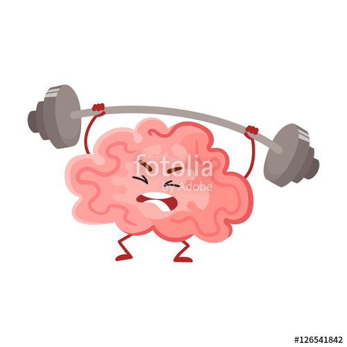 Brain clipart cute. Funny concentration training with