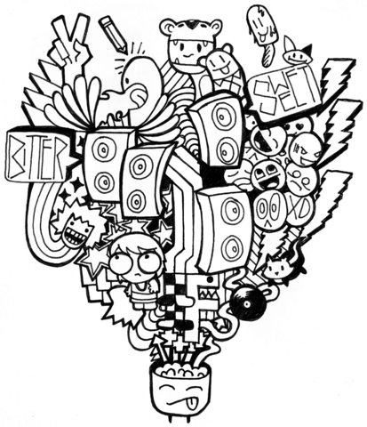 Brain clipart doodle. Storm coloring page free