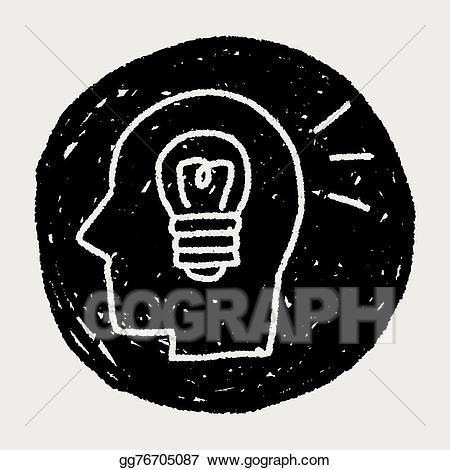 Vector idea illustration gg. Brain clipart doodle