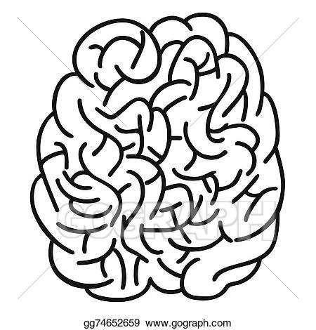 Vector art human outline. Brain clipart doodle