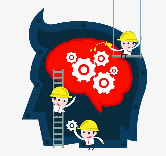 Engineer flat people cartoon. Brain clipart engineering