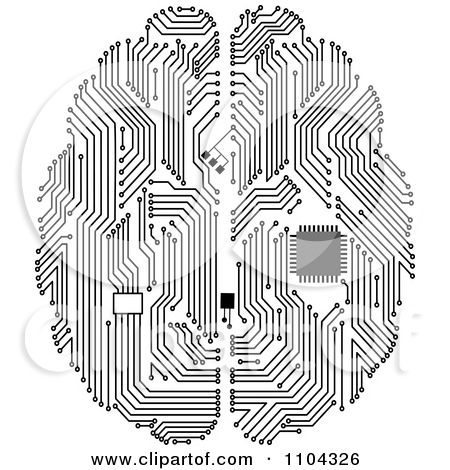 Black and white circuit. Brain clipart engineering