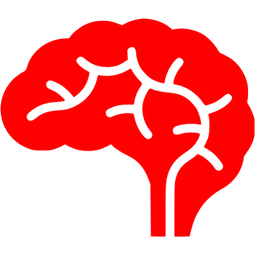 Red free icons. Brain clipart icon