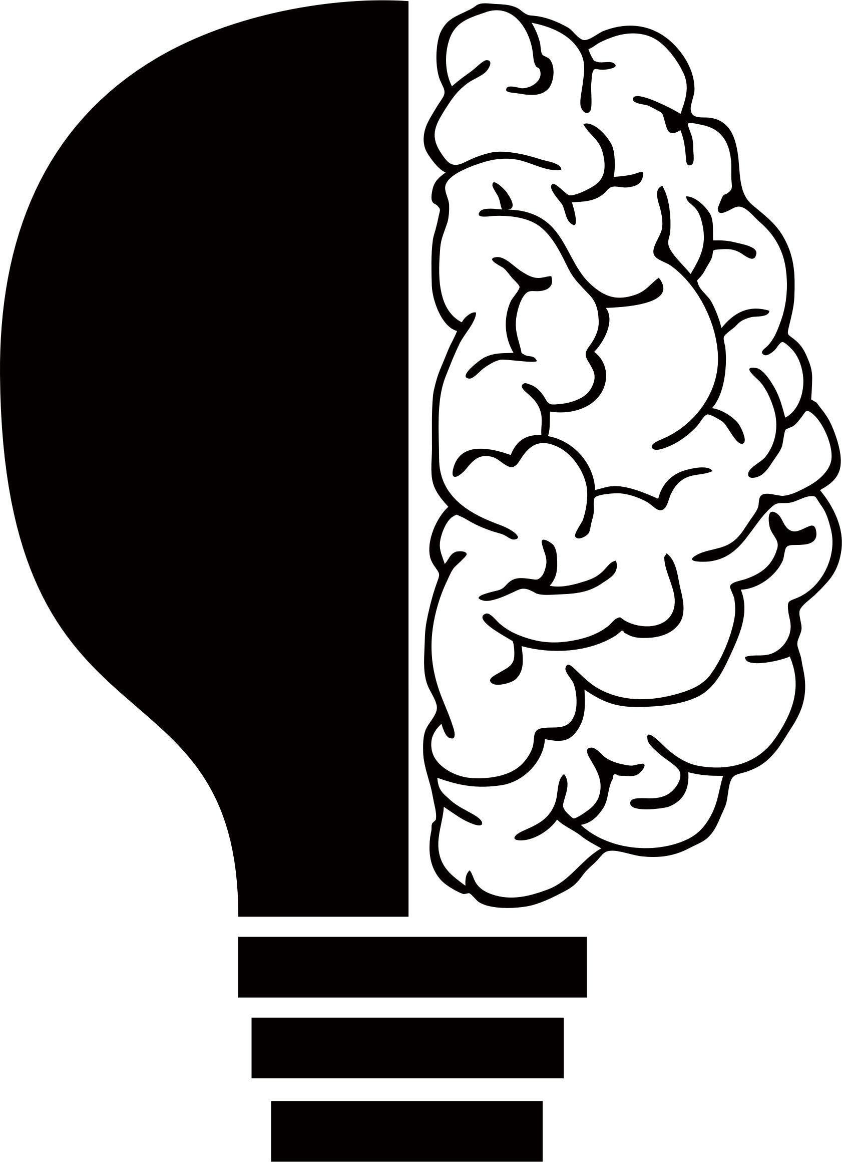 Brain clipart icon. Light bulb by elisa