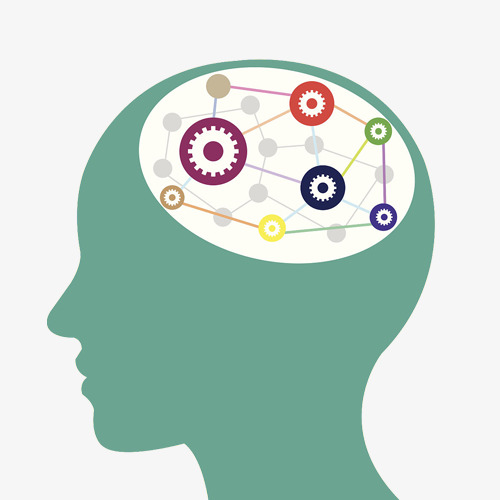 Brain clipart imagination. Cartoon abstraction head side