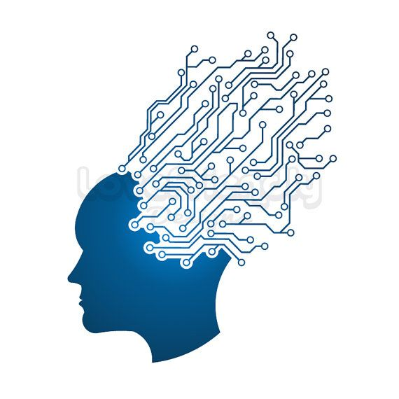 Man head circuit logo. Clipart brain mind