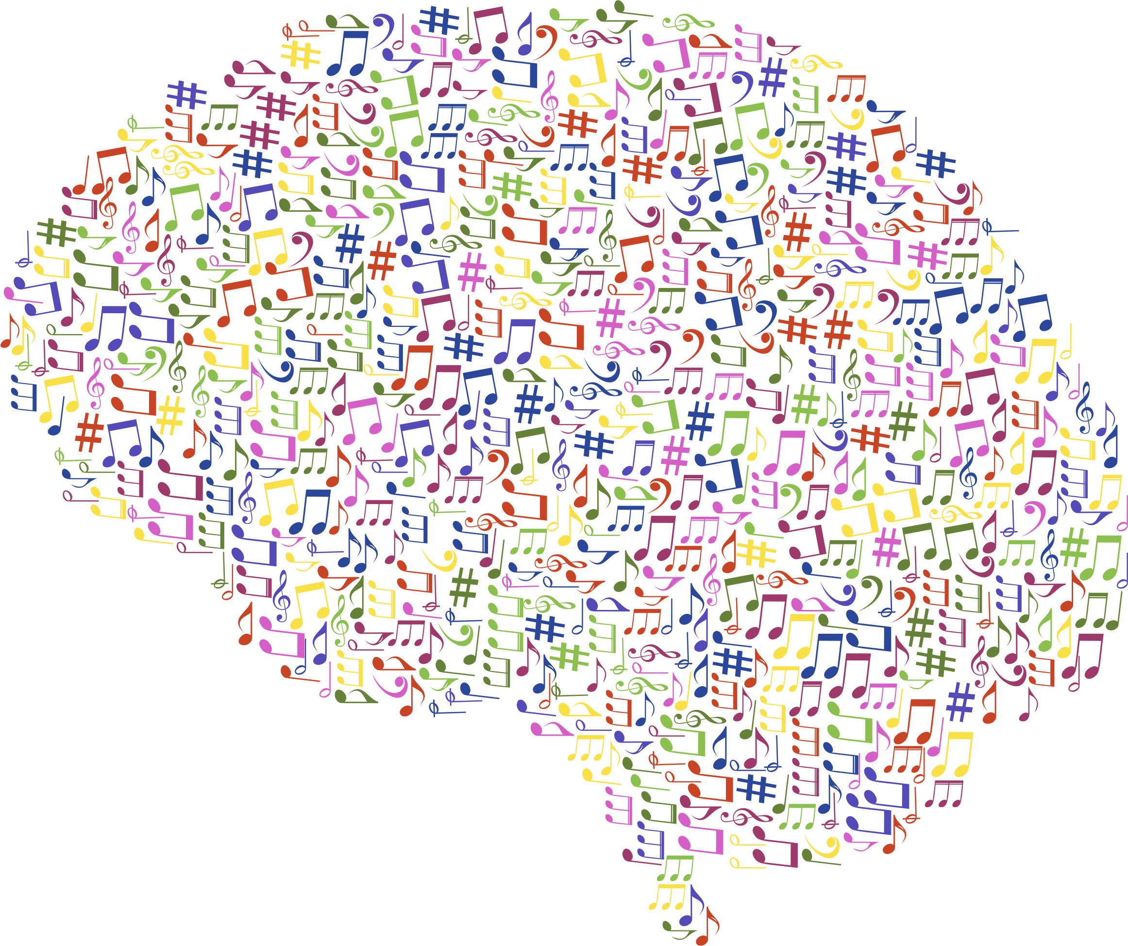 Big image png. Clipart brain music