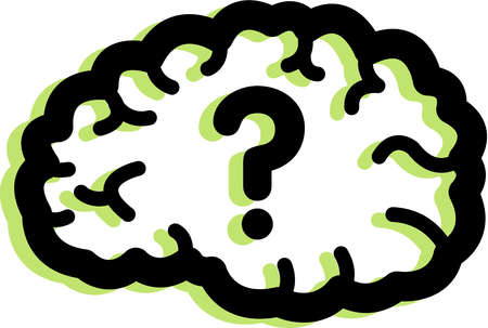 Brain clipart question. Stock illustration of a