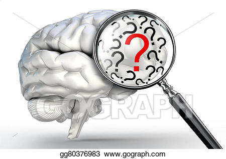 Drawing red mark on. Brain clipart question