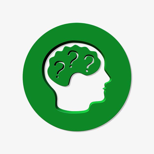 Brain clipart question. Green head human the