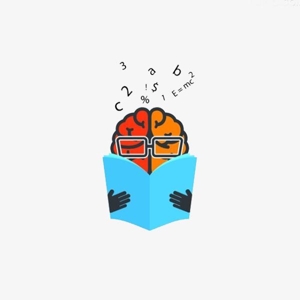 Brain clipart reading. Cartoon jane pen book