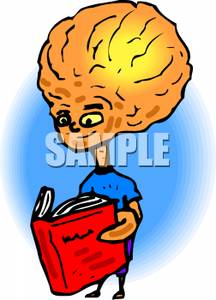 An alien with a. Brain clipart reading