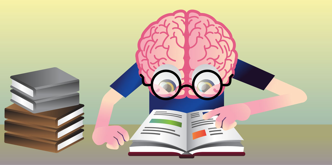 The frontiers for young. Brain clipart reading