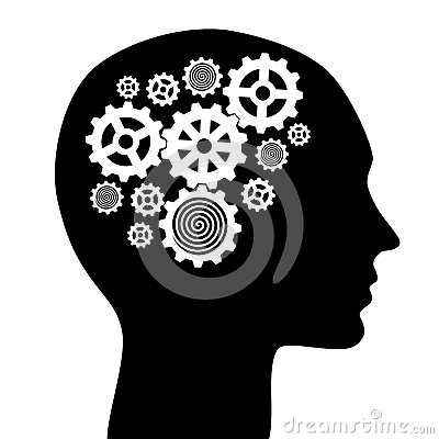 With gears . Brain clipart silhouette