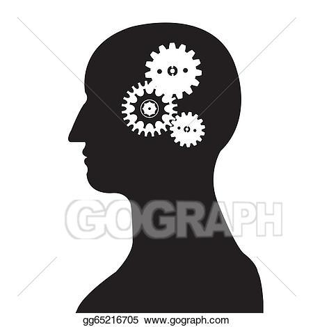 Brain clipart silhouette. Vector art head and